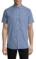 Report Collection Textured Casual Button-Down Cotton Shirt
