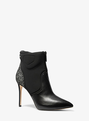 Michael Kors Uma Leather And Scuba Ankle Boot