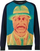 Issey Miyake portrait print sweater - men - Acrylic/Lyocell/Wool - 1