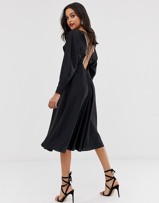 Asos Edition EDITION lattice back midi dress in satin-Black