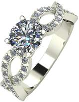 Moissanite 9ct Gold 1.40ct Equivalent Solitaire Infinifty Ring with Set Shoulders