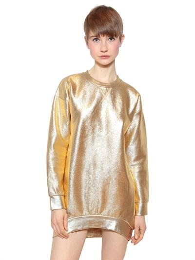 Faith Connexion Oversize Coated Cotton Fleece Sweatshirt