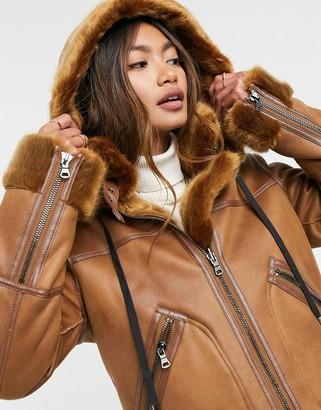 Urban Code Urbancode Ede faux fur bonded suedette coat in tan