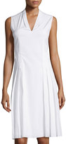 T Tahari Sleeveless Stretch-Cotton A-Line Dress, White