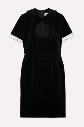 Comme des Garcons Ruffle-trimmed Cutout Cotton-velvet Dress - Black