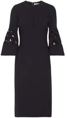 Oscar de la Renta Tulle-paneled Cutout Wool-blend Dress