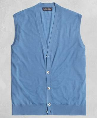 Brooks Brothers Golden Fleece 3-D Knit Fine Gauge Button Vest Sweater