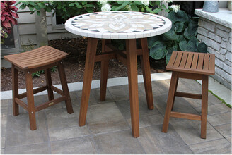 Outdoor Interiors 3Pc Counter Height Marble Table