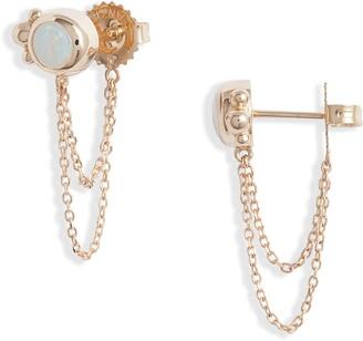 Anzie Bonheur Opal Chain Stud Earrings