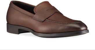 Giorgio Armani Men's Pebbled Leather Penny Loafers