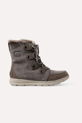 Sorel Explorer Joan Faux Fur-trimmed Waterproof Suede And Leather Ankle Boots - Gray