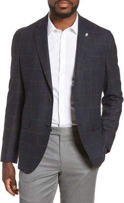 Ted Baker Konan Trim Fit Windowpane Stretch Wool Blend Sport Coat