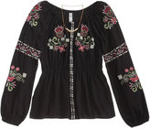 Beautees Embroidered Peasant Top and Necklace Set, Big Girls (7-16)