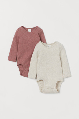 H&M 2-pack Ribbed Bodysuits - Red