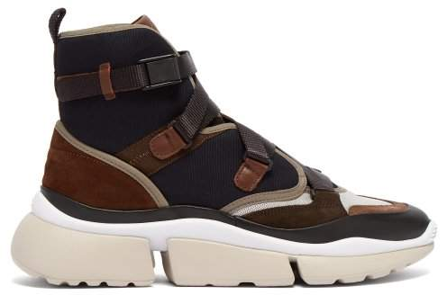 Chloé Sonnie Raised Sole High Top Trainers - Womens - Navy Multi