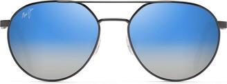 Maui Jim Sunglasses | Waterfront DBS830-02C | Dark Gunmetal Classic Frame Frame Polarized Dual Mirror Blue To Silver Lenses with Patented PolarizedPlus2 Lens Technology