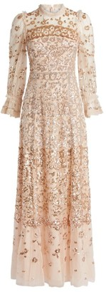 Needle & Thread Patchwork Sequin-Embellished Gown
