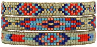 BEIGE Leju London Set Of Three Bracelets In Beige, Silver, Orange And Turquoise Tones