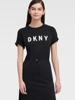 DKNY Maxi Logo Tee Dress With Drawstring
