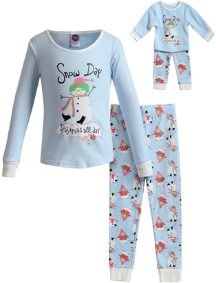 Dollie & Me Girls 4-14 Snug Fit Top with Pants and Doll 4-pc. Holiday Set