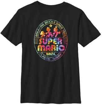 Fifth Sun Nintendo Super Mario Brick Break 85 Tie Dye Logo Boys Crew Neck Short Sleeve Graphic T-Shirt - Preschool / Big Kid Slim