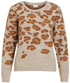 Vila 14053193 Beige Vilidi Animal Print Knitted Sweater 13532201 - xsmall