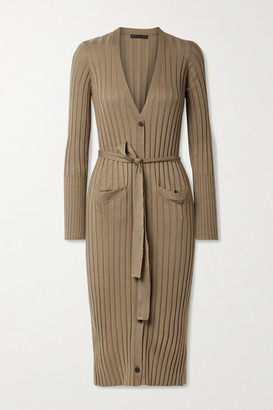 ATM Anthony Thomas Melillo Belted Ribbed Silk And Cotton-blend Cardigan - Tan