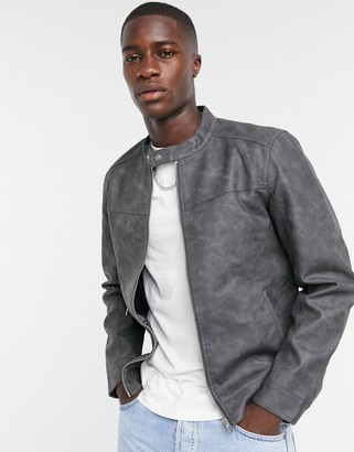 ONLY & SONS faux suede jacket with racer neck in gray
