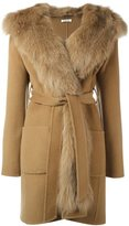 P.A.R.O.S.H. fox fur-trimmed belted coat