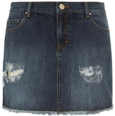Dorothy Perkins Dark wash rip denim mini skirt