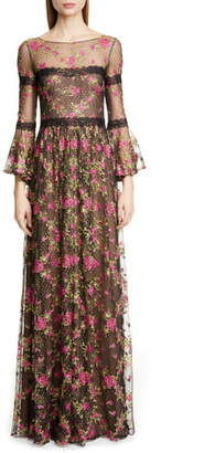 Marchesa Embroidered Long Sleeve Gown