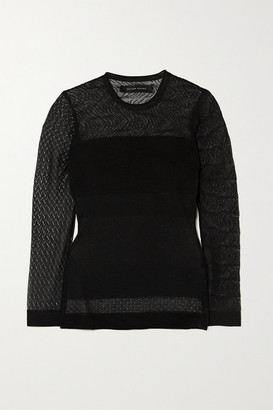 Roland Mouret Ellis Pointelle And Ribbed-knit Top - Black