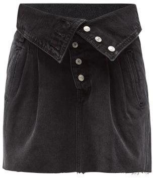 RE/DONE 80s Fold-over Denim Skirt - Black