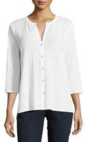 Eileen Fisher 3/4-Sleeve Stretch-Cotton Voile Box Top, Petite