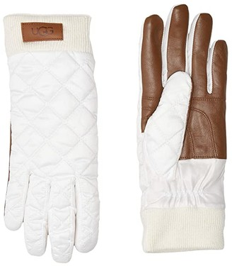 UGG Quilted All Weather Tech Gloves with Sherpa Lining (White) Extreme Cold Weather Gloves