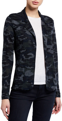 Majestic Filatures Camo Stretch-Linen Open-Front Blazer