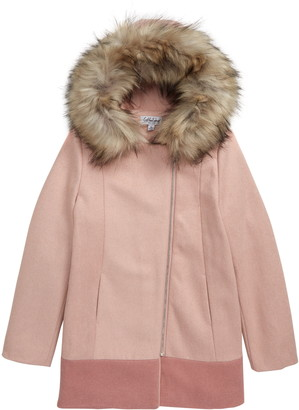 Coffee Shop Colorblock Hooded Coat with Faux Fur Trim