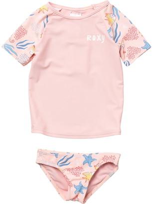 Roxy Walea Heart Short Sleeve Rashguard & Bottoms Swimsuit Set