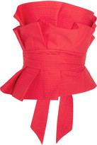 Johanna Ortiz - Rockstar Ruffled Cotton-poplin Bustier Top - Red