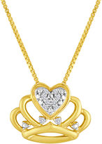 FINE JEWELRY Diamond-Accent 10K Yellow Gold Crown Necklace