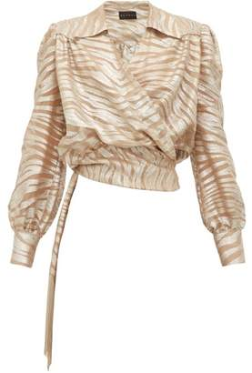Dundas Tiger-striped Silk-blend Wrap Blouse - Womens - Silver Multi