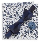 Original Penguin Three-Piece Plaid Bow-Tie, Lapel Pin & Floral Printed Pocket Square Set