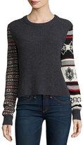 Rag & Bone Brigitte Ribbed Wool Pullover Sweater, Charcoal