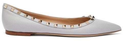 Valentino Rockstud Leather Ballet Flats - Womens - Grey
