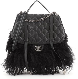 Chanel Paris-Dallas Double Flap Bag Quilted Calfskin and Fur Large