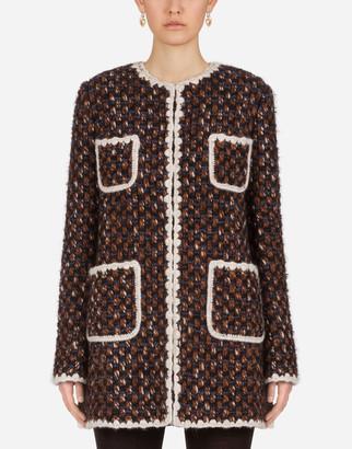 Dolce & Gabbana Long Tweed Gabbana Jacket With Contrasting Trims