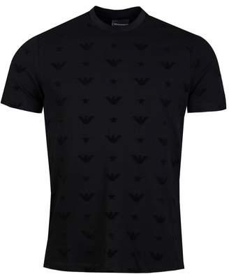 Giorgio Armani All Over Flocked Eagle Crew Neck T-shirt Colour: BLACK, Size: M