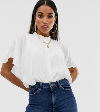 ASOS DESIGN Petite sleeveless soft shirt with ruffle detail