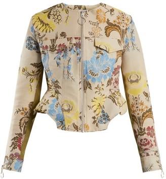Marques Almeida Peplum-hem Floral-jacquard Jacket - Cream Multi