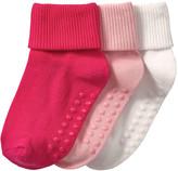 Joe Fresh Toddler Girls' 3 Pack Cuffed Socks, Pink (Size 1-3)